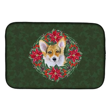 Pembroke Corgi Poinsetta Wreath Dish Drying Mat CK1508DDM