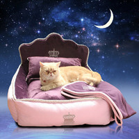 Luxury Princess Pet Bed With Pillow Blanket Dog Bed Cat Bed Mat Sofa Dog House Nest Sleep Cushion Kennel New Free Shipping