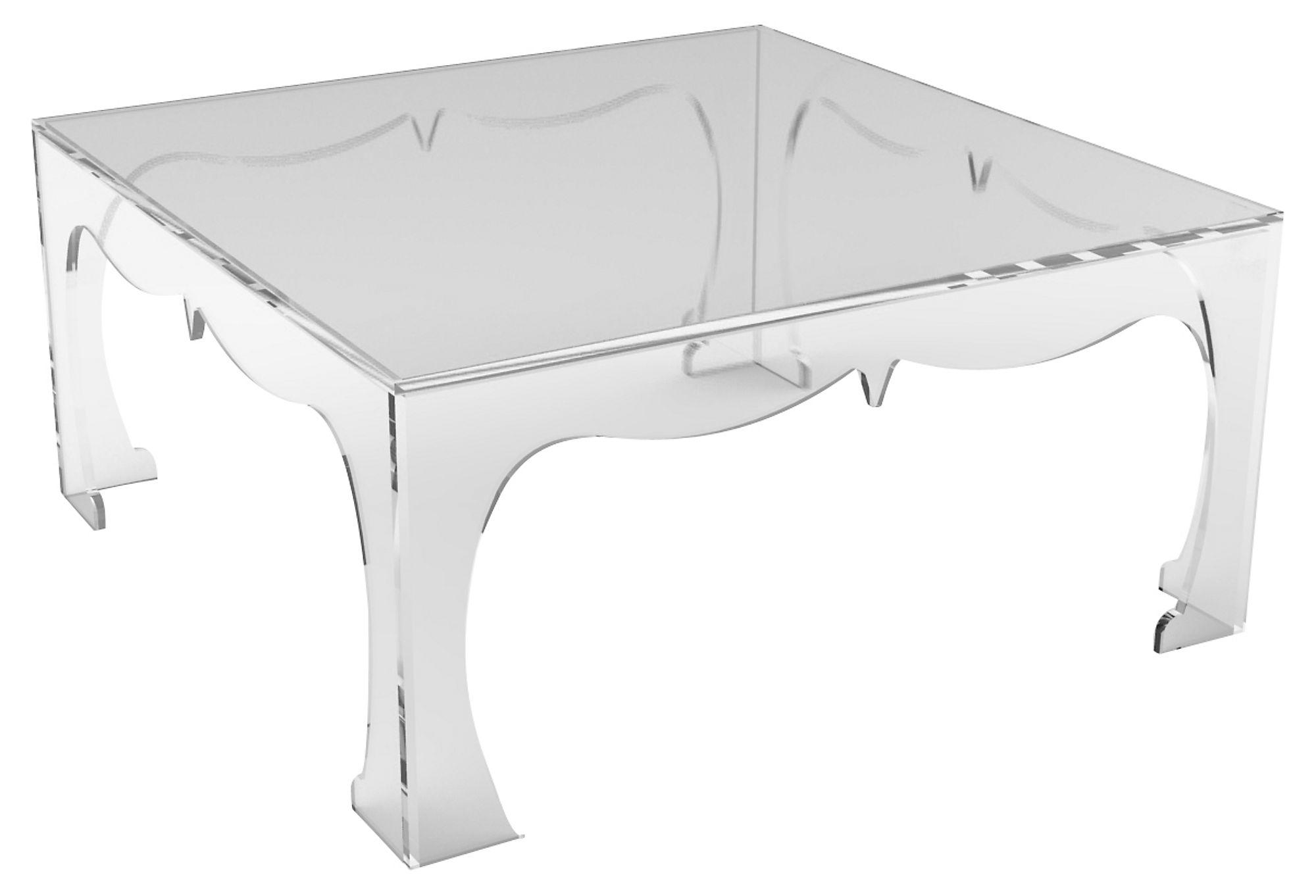 Agra acrylic square coffee table clear from one kings lane for Clear lucite acrylic coffee table