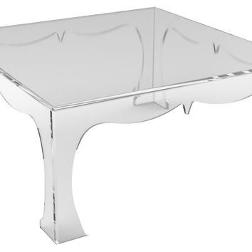Agra Acrylic Square Coffee Table, Clear, Acrylic / Lucite, Cocktail Table