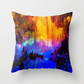 CASTLES IN THE MIST Magical Abstract Acrylic Painting Mixed Media Fantasy Cosmic Colorful Galaxy Throw Pillow by EbiEmporium