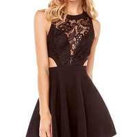 Black Lace Sleeveless Cut Out Mini Skater Dress