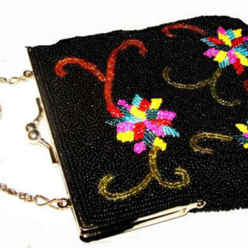 Black Beaded Evening Purse Designer BARSE Rainbow Color Flowers Vintage