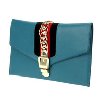 Flat Envelope Clutch W Stripe and Chain Accent