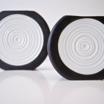 Scarce Set of Two Modernist Black and White Target Relief Porcelain Vase by Thomas