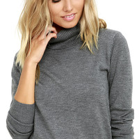 Comin' Up Cozy Dark Grey Turtleneck Sweater