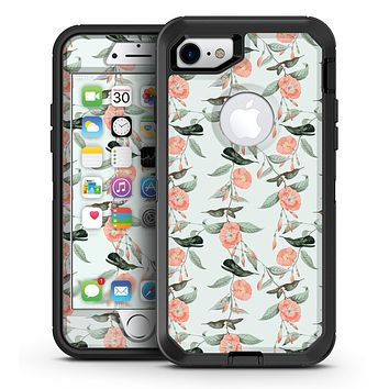 The Coral Flower and Hummingbird All Over Pattern - iPhone 7 or 7 Plus OtterBox Defender Case Skin Decal Kit