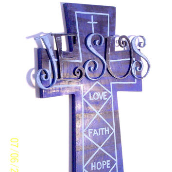 Christian Wall Art - Christian Wall Hanging - Home Decor - Large Wall Cross - Hand painted Blue