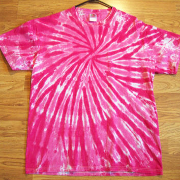 S M L XL Tie Dye Shirt, Adult, Short Sleeve - Hot Pink tie dye