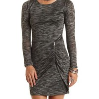 Marled Sweater Dress with Zipper - Charcoal Heather