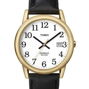 Timex~T2H291~Gold Tone~Black Leather~Easy Reader~Indiglo~Mens Classic Watch