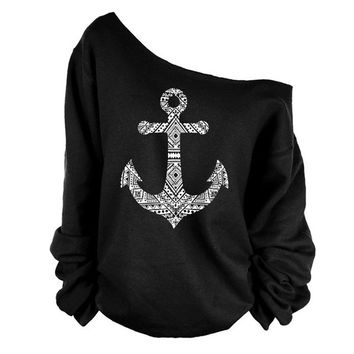 Women Autumn Long Sleeve Off Shoulder Pure Color Boat Anchor Printed Hoodies Pullover Baggy Outwear Top S-XL = 5618499521