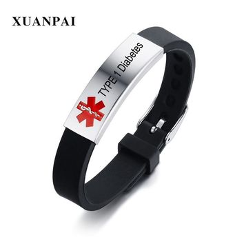 Free Engraving Medical Alert ID Strap Silicone Bracelets for Men Women Customized TYPE 1 Diabetes Disease Name Bracelet Bangle