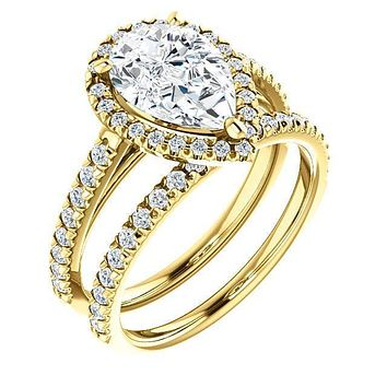 Pear Moissanite Diamond Accent Ice Halo Cathedral Ring