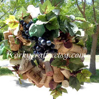 Wine Cork Wreath - centerpiece, candle ring, rustic wedding, wine tasting, hostess gift