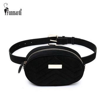 FUNMARDI Luxury Velvet Women Waist Bags New Fashion Waist Packs Brand Women Shoulder Bags Trendy Design Chain Bags WLHB1743