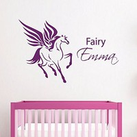 Wall Decals Vinyl Decal Sticker Home Art Mural Interior Design Custom Girl Personalized Name Unicorn Fairy Horse Kids Nursery Baby Room Girl Bedding Decor