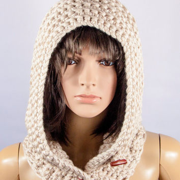Acrylic Scarf, Hooded Scarf, Chunky hooded scarf by LoveKnittings