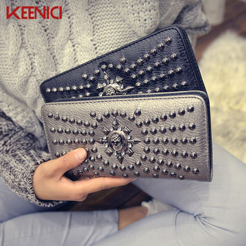 Women Fashion High Quality Skull Wallet Personality Clutch Bags Rivets PU Leather Purse Zipper Card Holder Punk Wallets