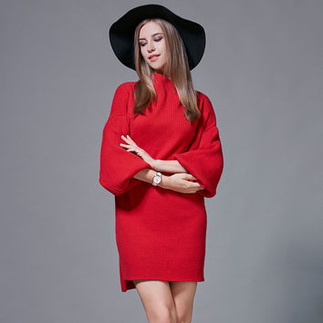 2016 autumn and winter red dresses new women's plus size thin wild lantern sleeve christmas winter sweater dresses women