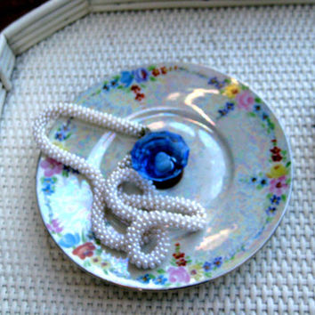 Jewelry display organizer, iridescent vintage china dish with gorgeous cobalt blue glass knob for desserts or display