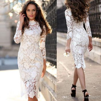 Hollow White Lace Dress Women Long Sleeve Work Casual Party Slim Pencil Sexy White Flower Long Dresses Vintage Vestidos DK9084YL