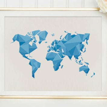 World Map Print - A Geometric Triangle Map of the World Blue Geometric World Map Abstract Map Instant Download Triangle Poster