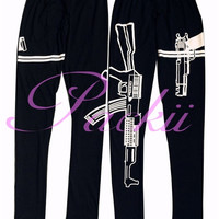 Women Cotton Stretchy Leggings Tights Gun Print Work Out Pants Yoga Sports Outwear = 1933179780