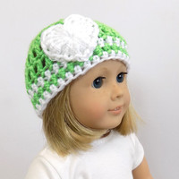 Doll Clothing 18 Inch Doll Hat Lime Green Crochet Beanie