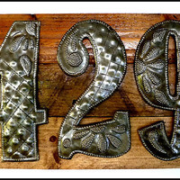 House Number Sign, 3 Address Numbers, Metal Numbers, Address Sign, Pallet Wood, Shabby Chic, Reclaimed Wood, Address Plaque, A3-3-ST-TL-GL7