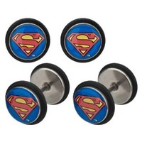 DC Comics Earrings Rings Fake Super Man Cheater Plug 18 gauge - Sold as a pair Superman