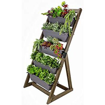 CedarCraft 5-Tier Vertical Planter - Grow plants, succulents, flowers or herbs on your deck, patio or yard. 5 removable planter boxes. Freestanding, designed for limited space gardening. (Brown)