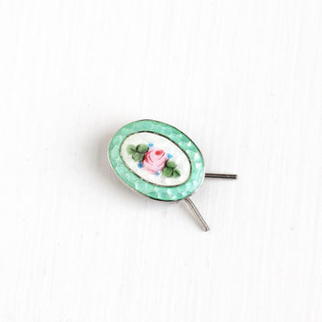 Vintage Sterling Silver Guilloche Enamel Barrette Hair Clip - Art Deco Era 1930 Pink Green White Rose Flower Hair Pin Accessory Baby Jewelry