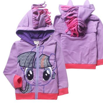 Kid baby girls my little pony jacket coat hoodies cosplay costume unicorn Twilight Sparkle hoody children baby autumn sweatshirt