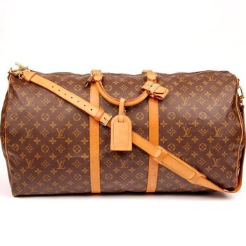 Louis Vuitton Keepall Bandouliere 60 With Strap Tags Padlock 5667(Authentic Pre-owned)