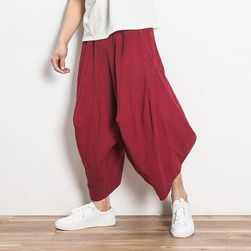Hippie Baggy Wide Leg Pants Mens Outwear Casual Indian Drop Crotch Pants Summer Nepal Trousers Hawaii Dance Pants 050909