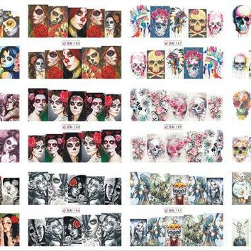 VONEML3 12 Sheets/Lot Nail BN181-192 Voodoo Girl Flower Skull Full Cover Nail Art Water Wraps Sticker Decal For Nail (12 DESIGNS IN 1)
