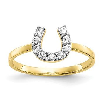 Lucky CZ Horseshoe Ring