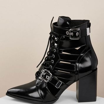 Leatherette Multi Buckle Lace Up Cutout Booties