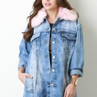 Colorful Faux Fur Collar Long Denim Jacket