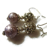 Majestic Looking Light Lavender or Violet Glass Bead and Antique Silver Metal Flower Design Cut Out Bead Drop Earrings 147