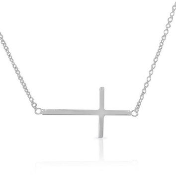 Gold 2015 new brand! 925 Sterling Silver Womens Sideways Horizontal Cross Pendant Necklace european man women bar necklace 3color