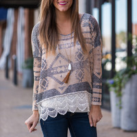 Aztec And Lace Top, Taupe