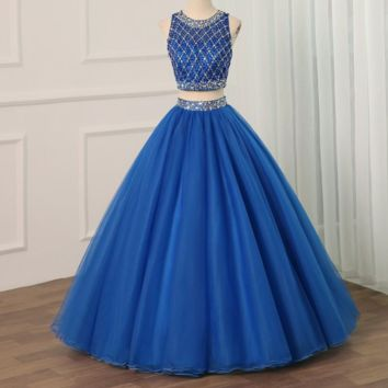 Royal Blue Two Piece Dress Scoop Neck Ball Gown Beaded Crystals Tulle Sweet 16 Dresses