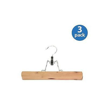 Household Essentials Cedar Pants Clamp Hanger, 3-Pack