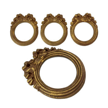 Vintage Round Circle Picture Frames, Set of 3, Carved Wood Composite Antiqued Gold Circle Photo Frame, Distressed Baroque Rococo Wall Decor