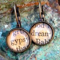 Word Earrings  - GYPSY DREAM-    Vintage Words, Glass cabochons, antiqued brass