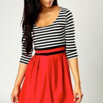 Lulu Striped 3/4 Sleeve Fit And Flare Dress at boohoo.com