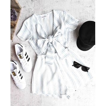 reverse - wait for her romper - white/blue stripe