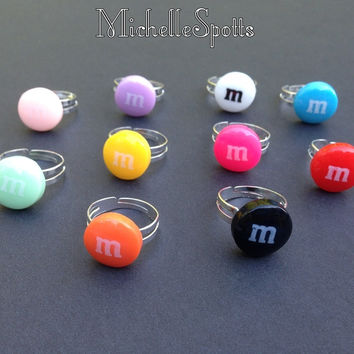 Resin Colorful Candy Rings Adjustable Rings Kids Children Gift Custom Jewelry Geeky Nerdy Fun Kawaii Ring